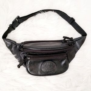 90s Flight Fax Vintage Black Pu Leather Fanny Pack